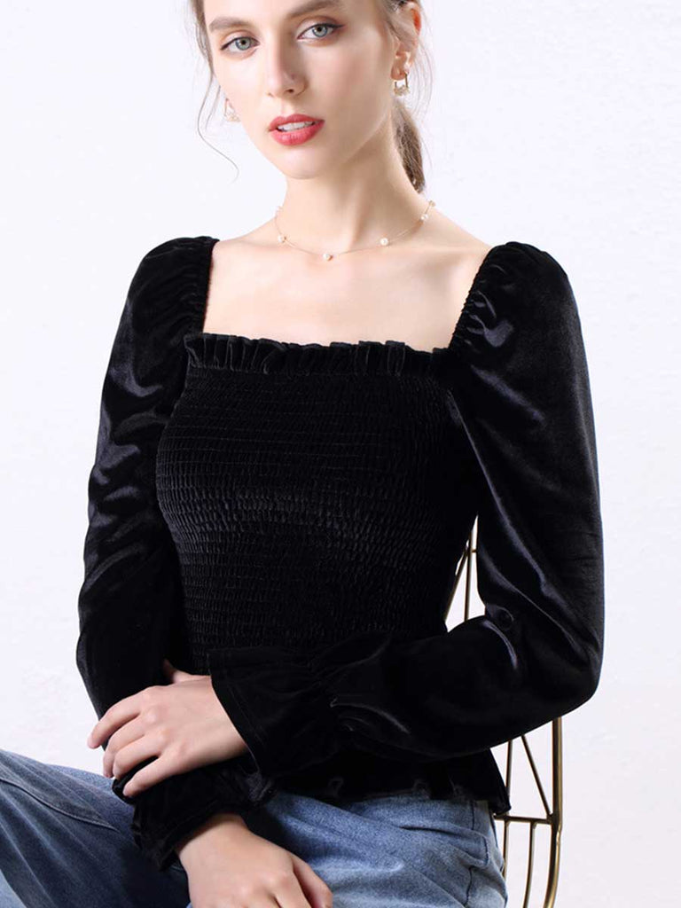 Palace Style Top Velvet Square Collar Slim Bottoming