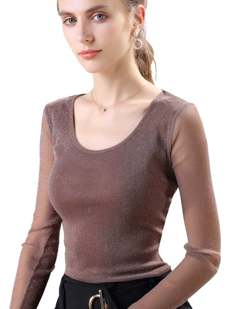 Slim Bottoming Gold And Silver Mesh Yarn Round Neck Top