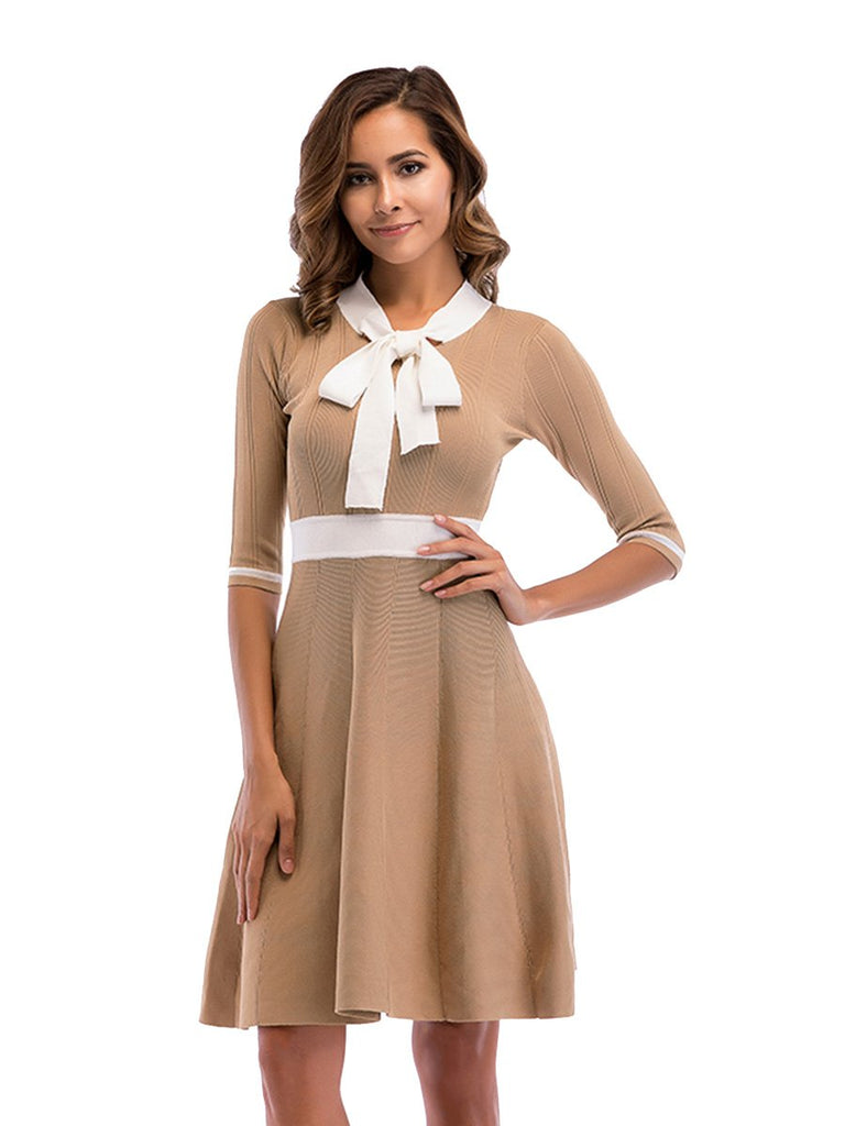 Sweater Dress Bow Collar Colorblock Mid Sleeve Knitted Swing Dress
