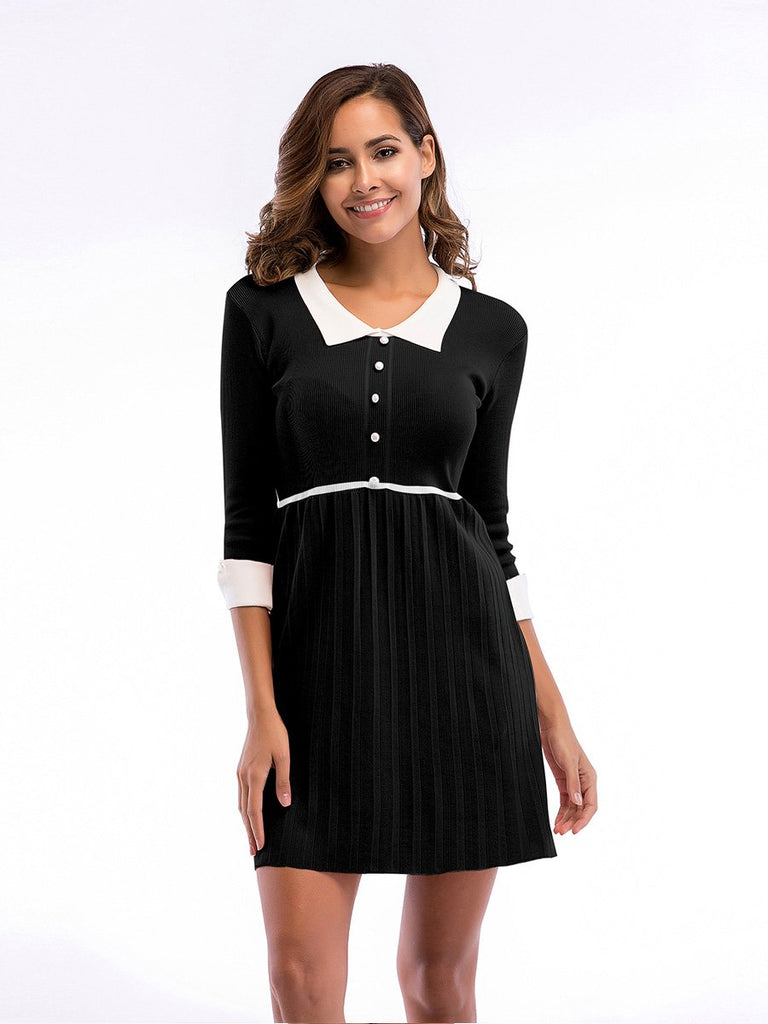Casual Dress High Waist Doll Collar Knit Pleated Slim Dress