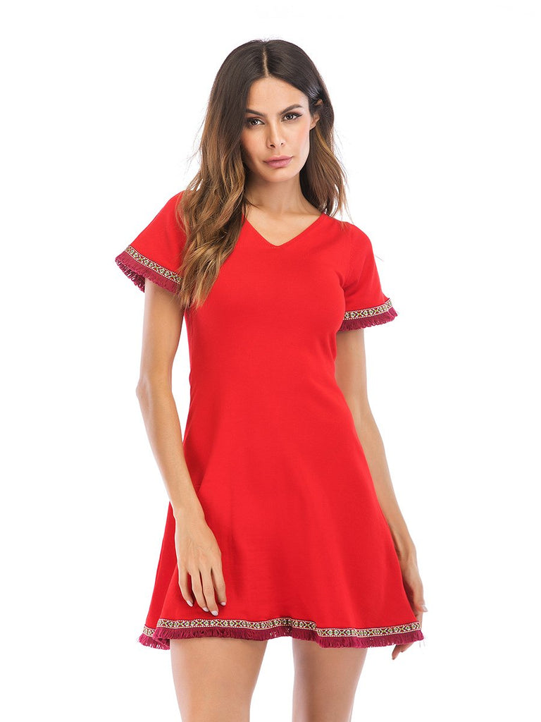 Sweater Dress V-neck Back Strap Short Sleeve A-line Dress