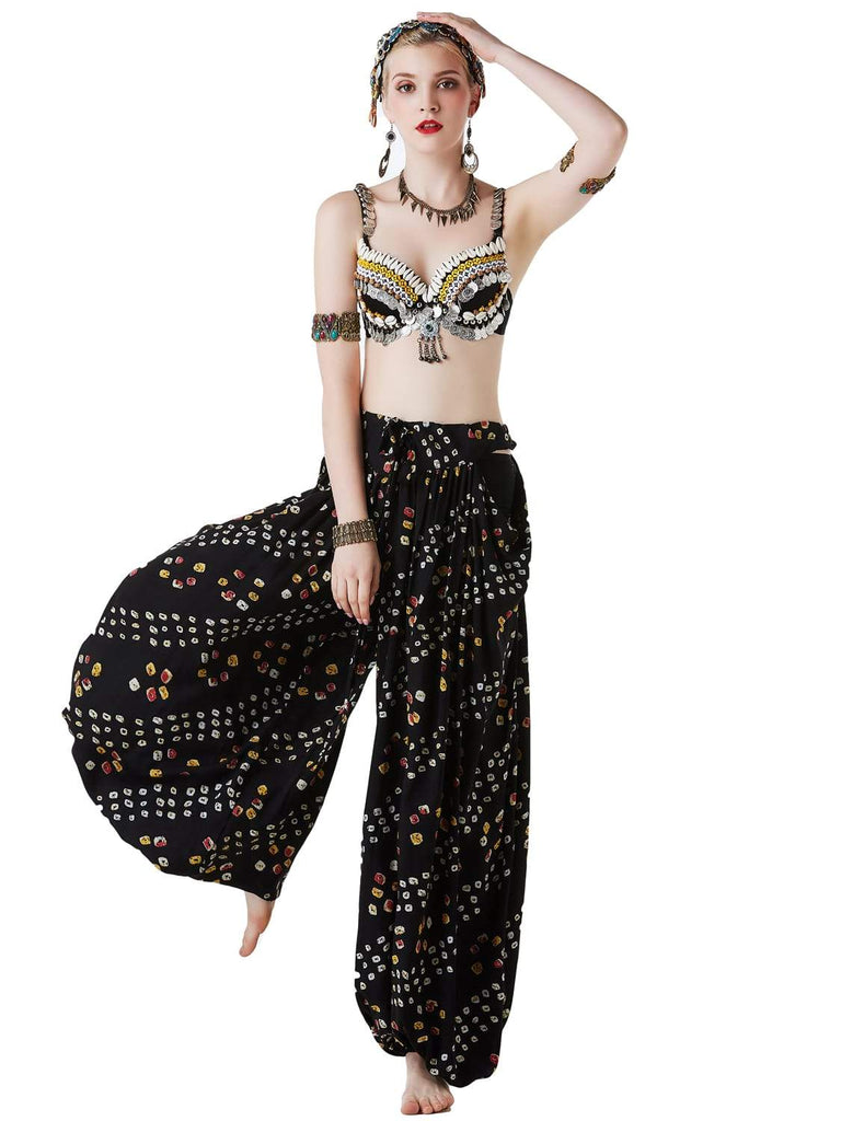 Ethnic sequined top belly dance dress with jewel-embellished pants