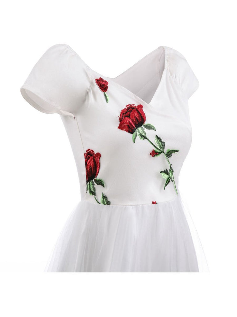Vintage Off Shoulder Rose Embroidery Dress