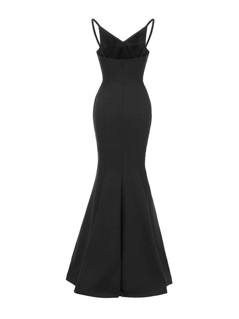 Evening Dress Backless Elegant Solid Color Long Prom Dress