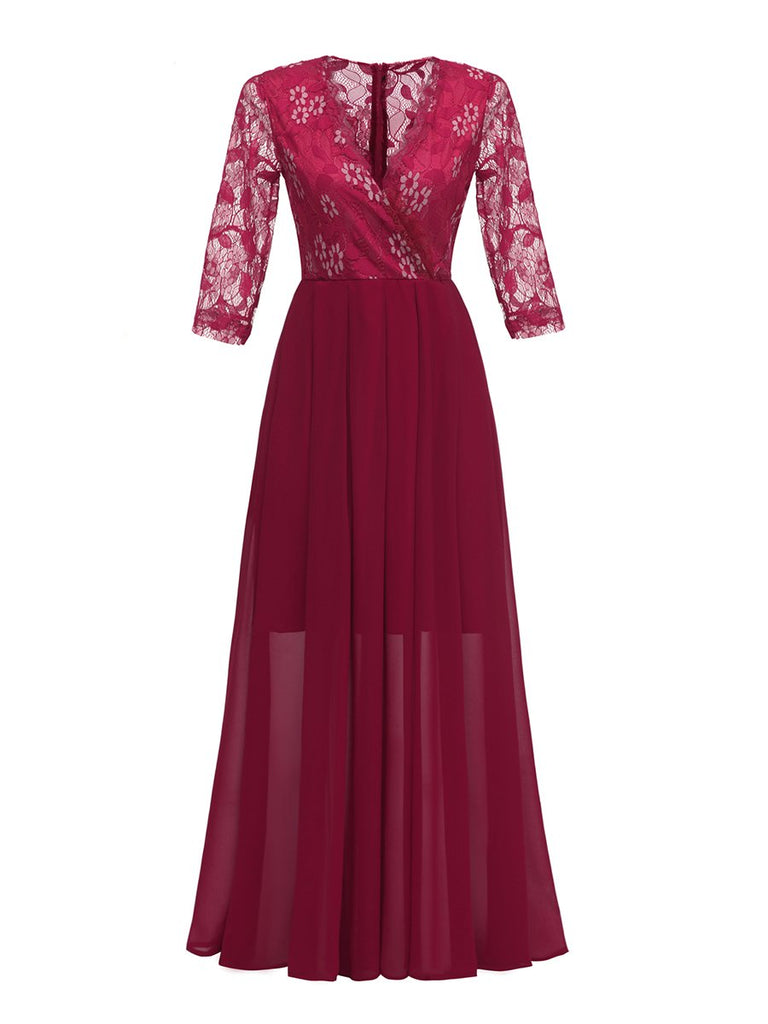 Evening Dress V Neck Lace Patchwork Maxi Long Dress