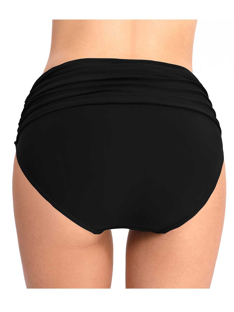 Conservative Beach Pant High Waist Stretch Pleated  Triangle Swim Trunk