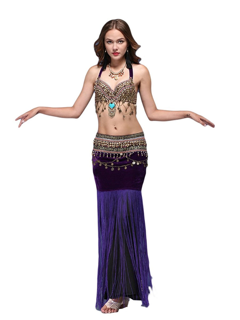 Egyptian Style Belly Dance Costume With Sequined Top And Long Fringed Waist Closure