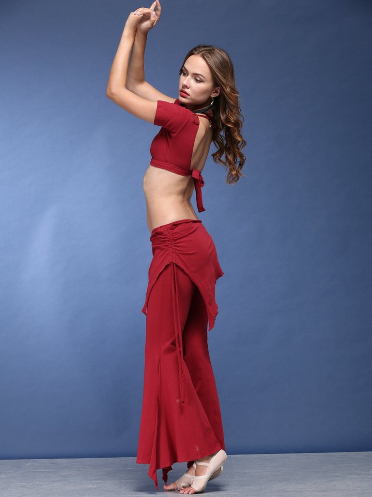 V-Neck Short Top With Chic Bell-Bottom Trousers For Belly Dance Practice