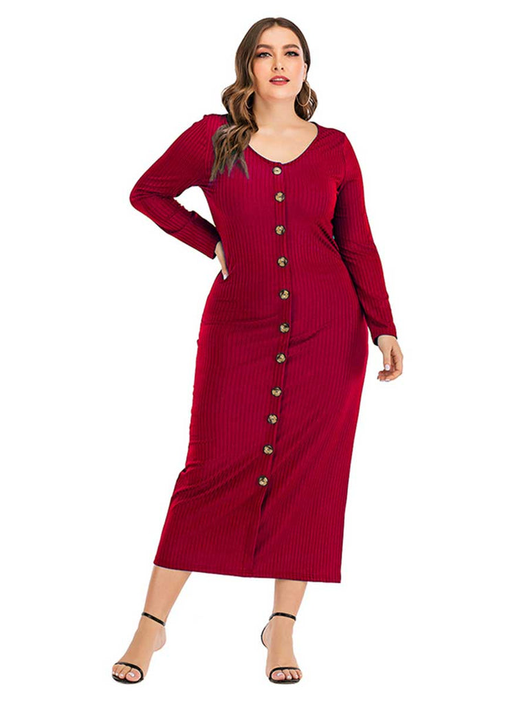 Women Plus Size Dress Long-sleeved V-neck Button Pencil Dress