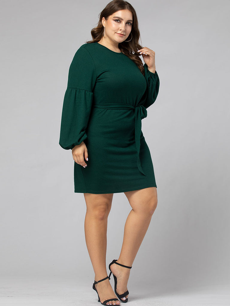 Women Plus Size Dress Hipster Long-sleeved Round Neck Pencil Dress