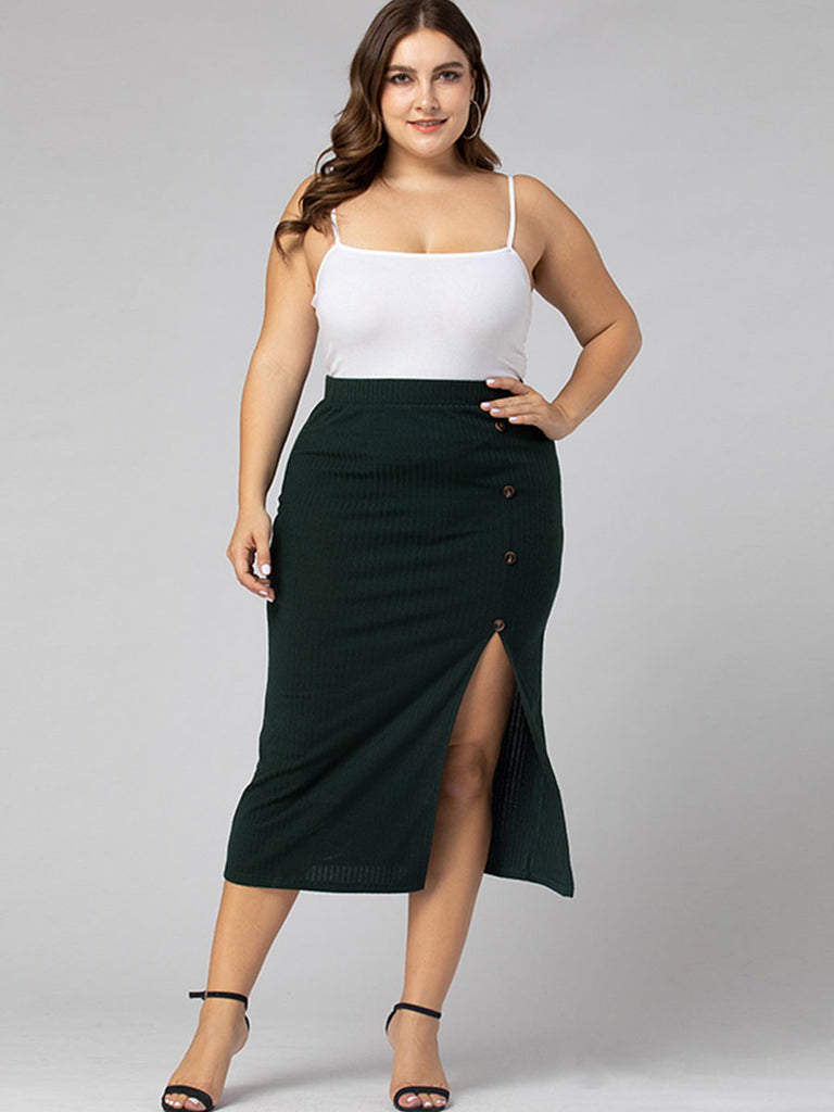 Plus Size Skirt Sexy Button Side Split Irregular Pencil Skirt