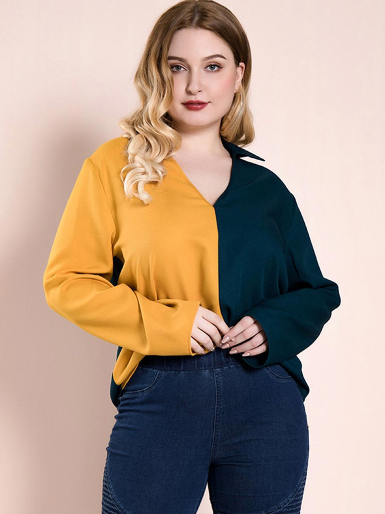 Casual V-Neck Long-Sleeved Top Fashion Two-Color Stitching Shirt