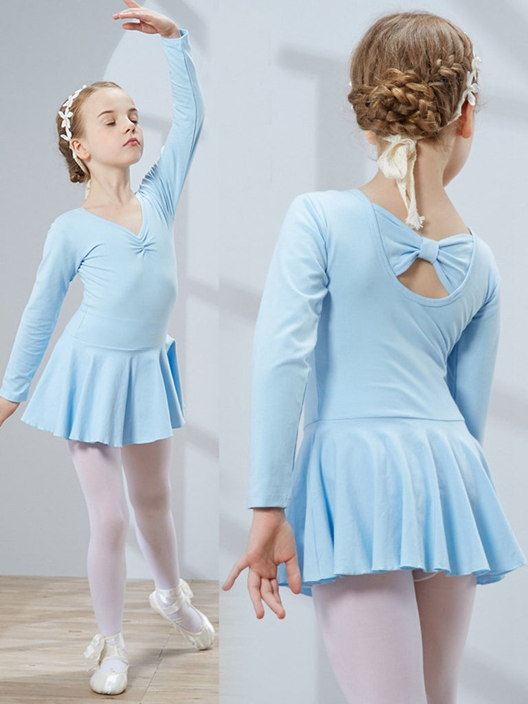 Back strap design style long sleeve ballet tights practice clothes