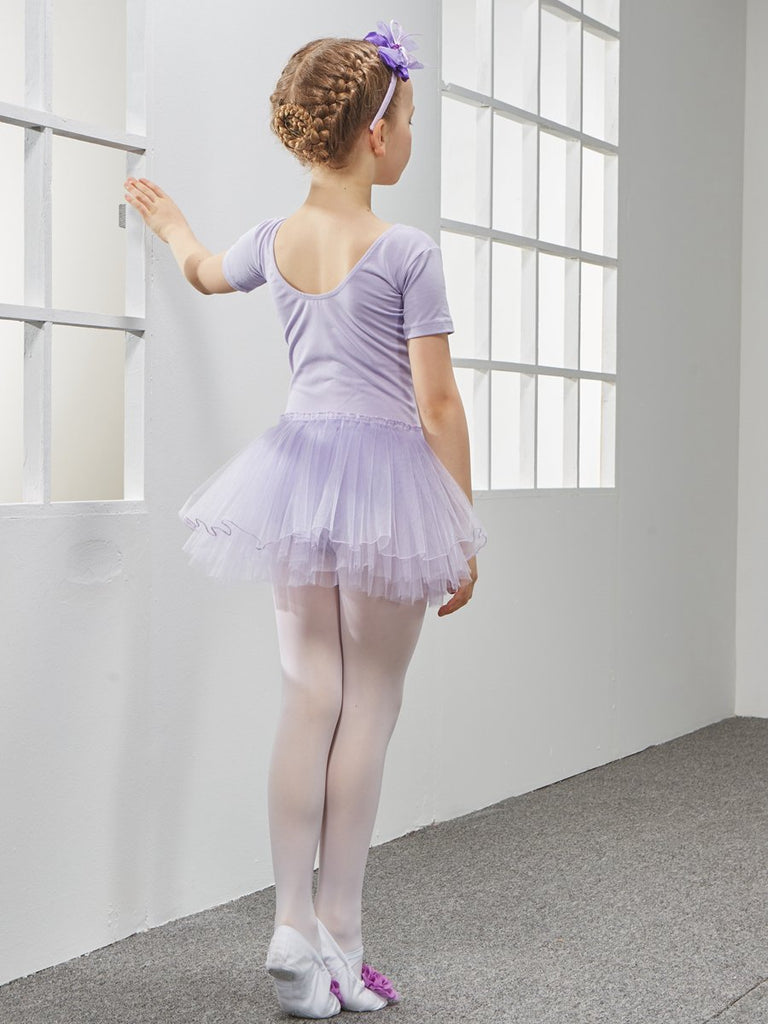 Short sleeve lace v collar slim breathable practical ballet leotards