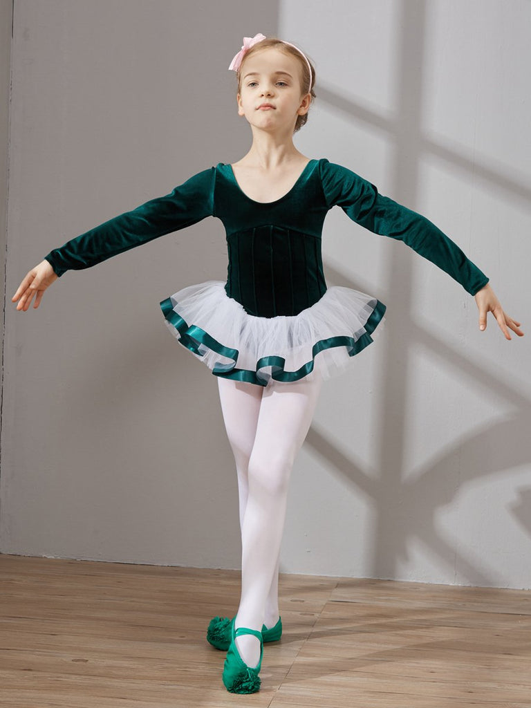 Velvet long sleeved back bow ornate tutu