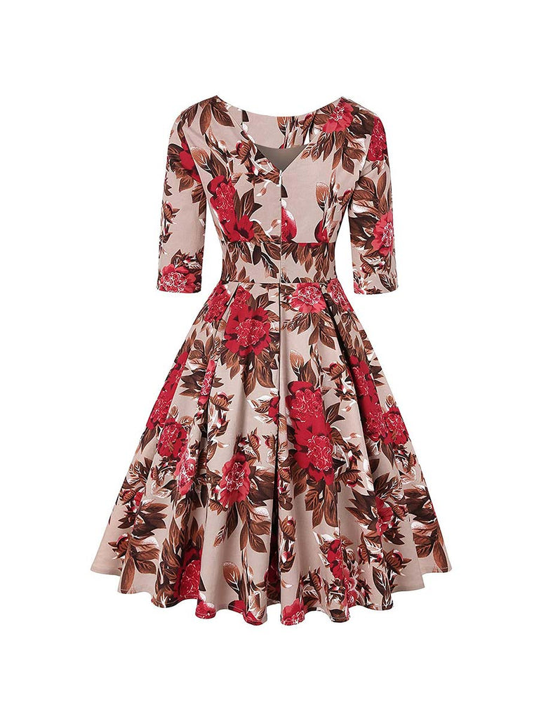 Vintage Dress Print Seven Points Sleeve Puff Dress