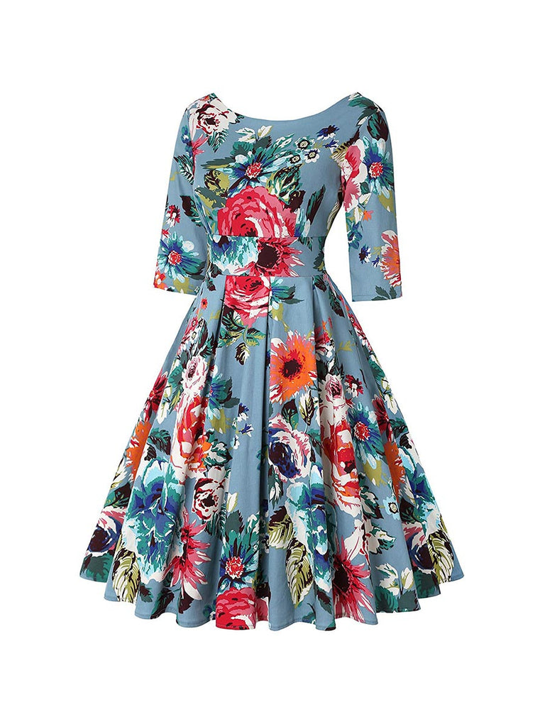 Court Style Dress Vintage Print Seven Points Sleeve Swing Dress