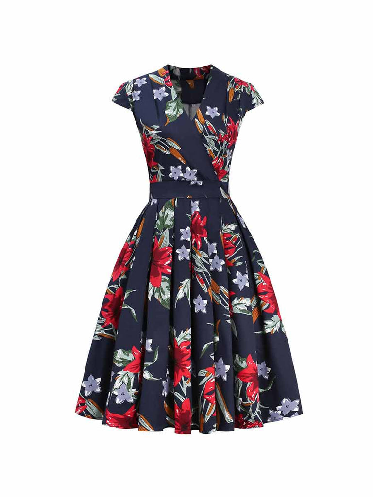 Retro Stand-up Collar Obliquely Draped  Printed Pleated Dress