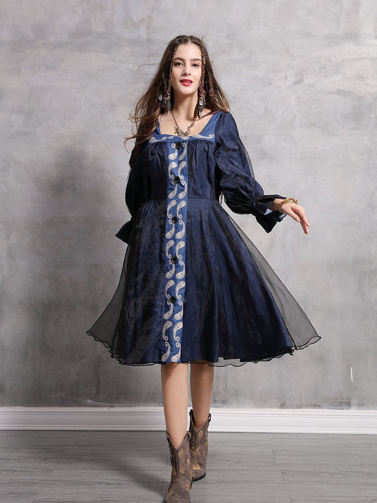 Swing Dress Vintage Embroidered Lantern Sleeve Denim Dress