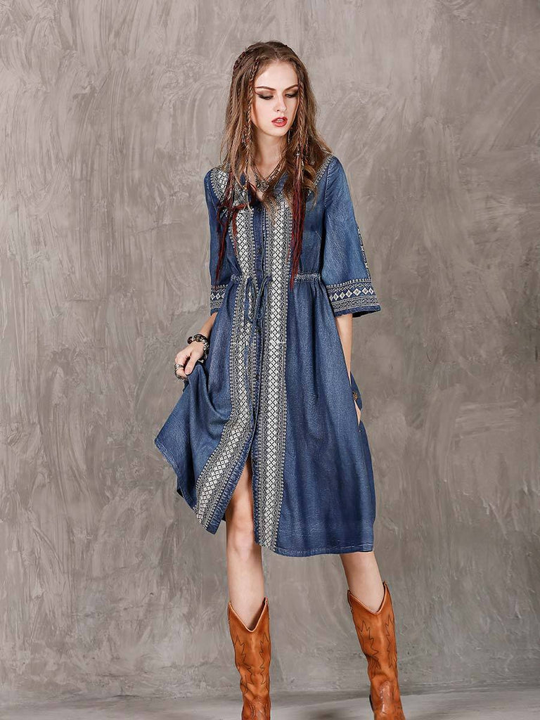Swing Dress Ethnic Style Embroidery Drawstring Dress