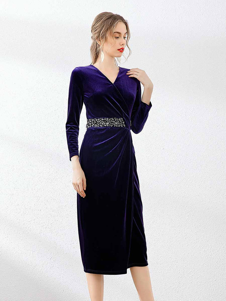 Pencil Dress Velvet Gem Embellishment Waist Slim Midi Dress