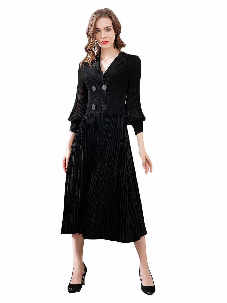 Knitted Dress Lantern Sleeves Double-breasted Waist Pleated Dress