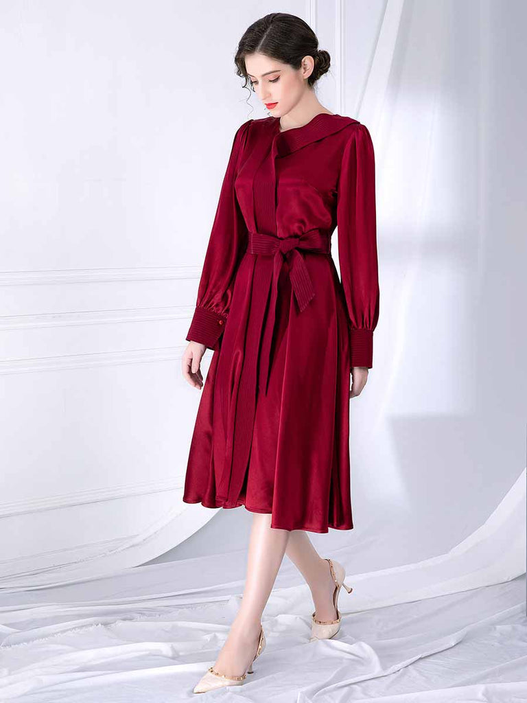 Vintage Dress Solid Color V-Neck Long Sleeve Lace-Up Dress
