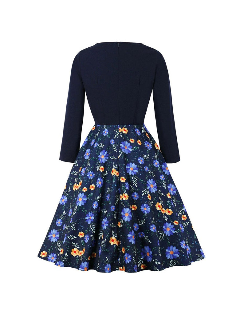 Swing Dresses V-neck Stitching Flower A-line Dress