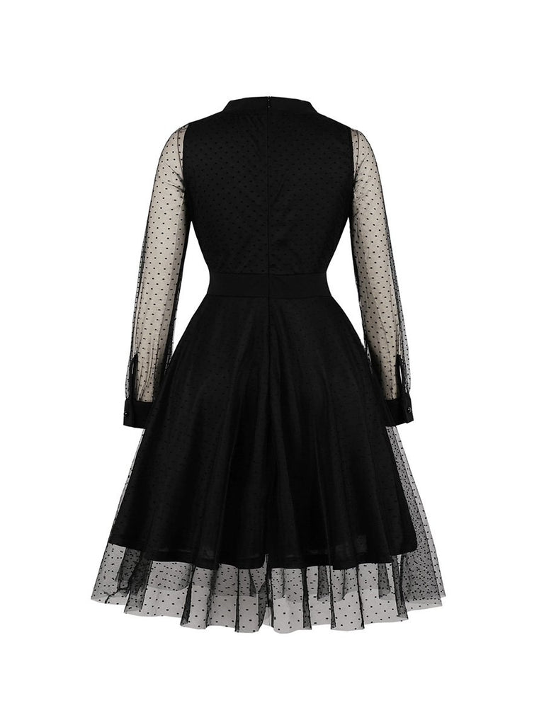 Vintage Dress Mesh Polka Dot Swing Dress