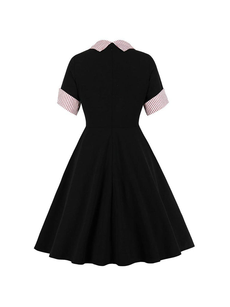 Swing Dress Roll Mid Sleeve Stand Collar Slim Dress