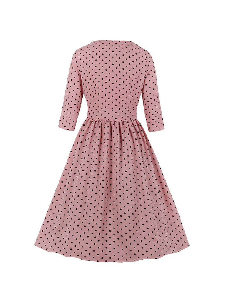 Swing Dress V-neck Polka Dot Midi Front Button Dress