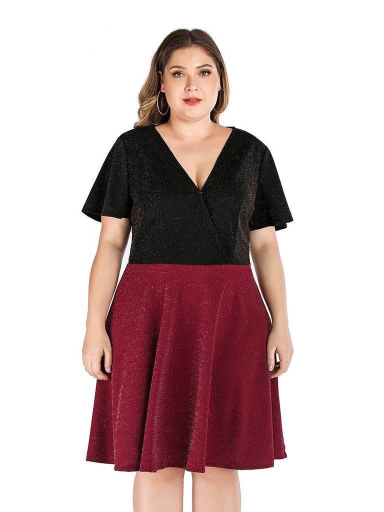 Plus Size Dress V Neck Short Sleeve Color Matching Dress