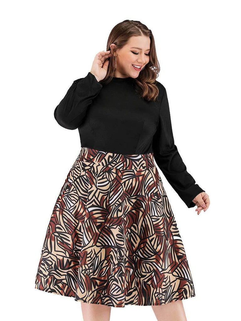 Plus Size Dress Fashion Stitching Print Crew Neck Dress