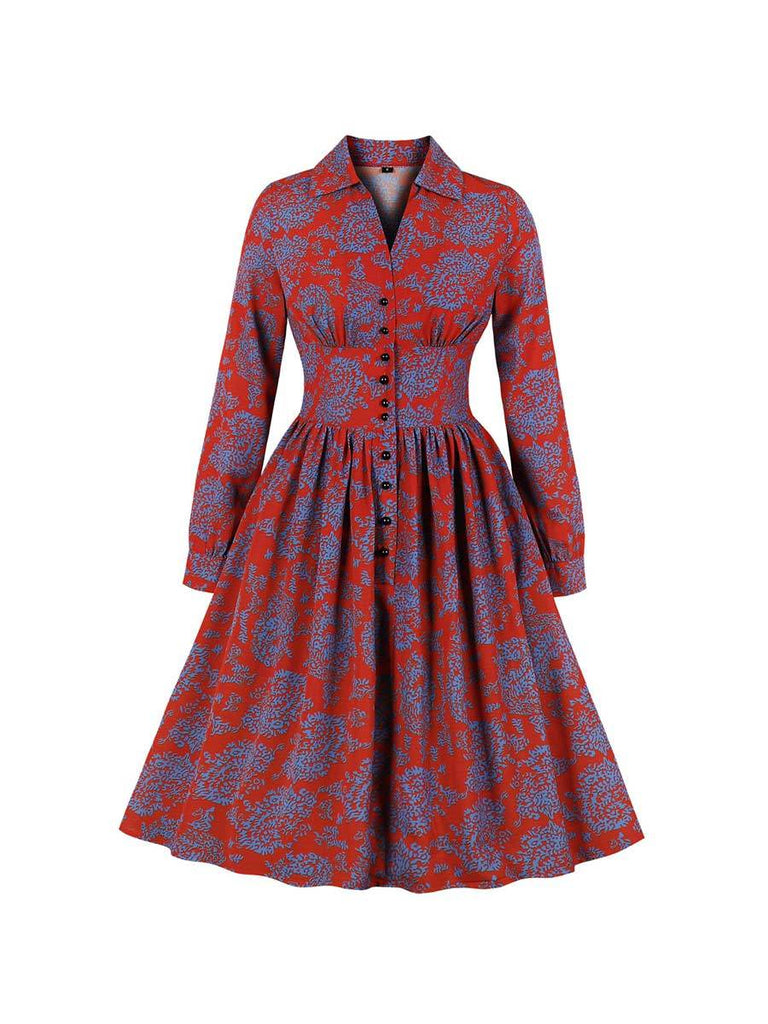 1960s Swing Dress Long Sleeve Lapel Print Waisted Knee-length Dress