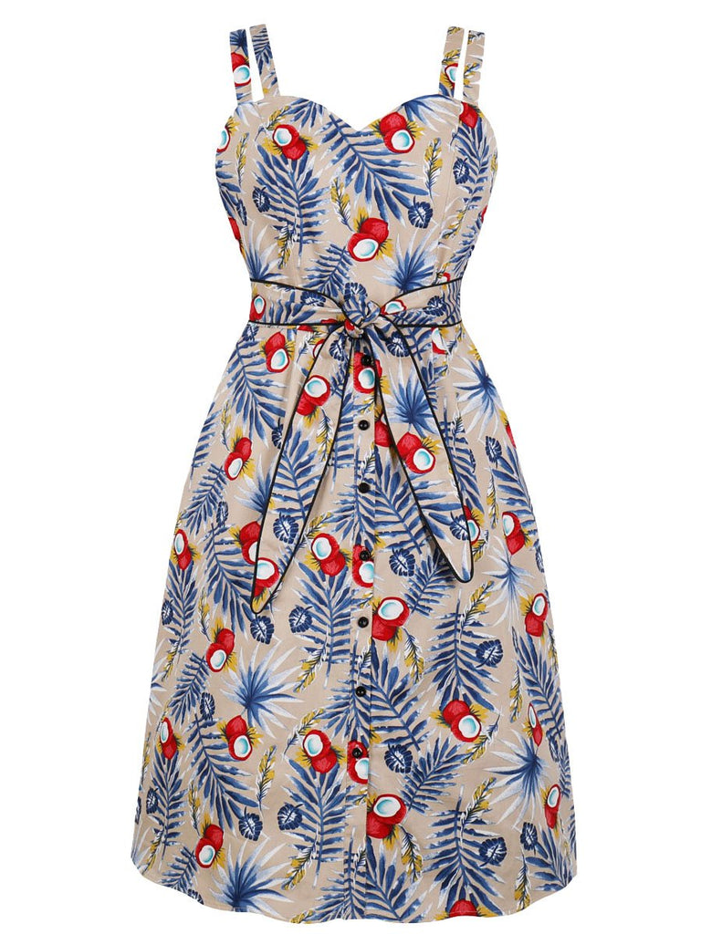 1950s Dress Floral Sash Design Slip Dress