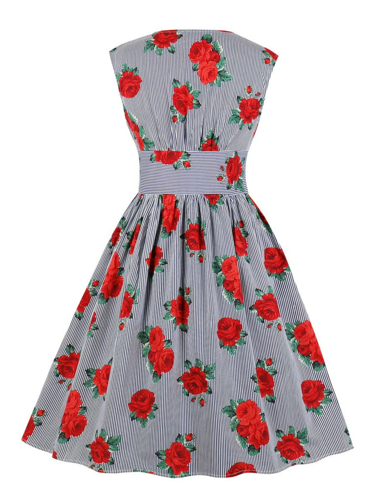 1950s Dress High Waist Flower Print Vintage Dress