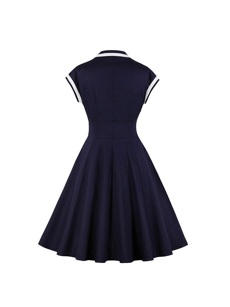 Vintage Dress V-neck Sleeveless Swing Dress