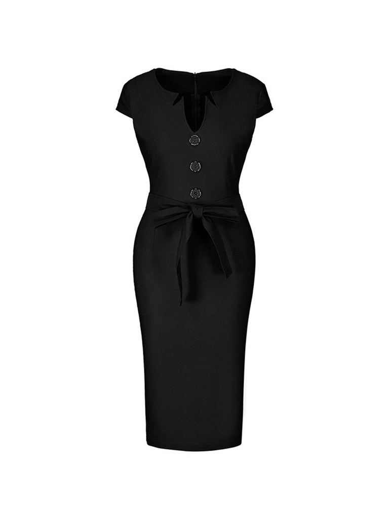 1950s Dress Irregular Collar Button With Belt Pencil Dress
