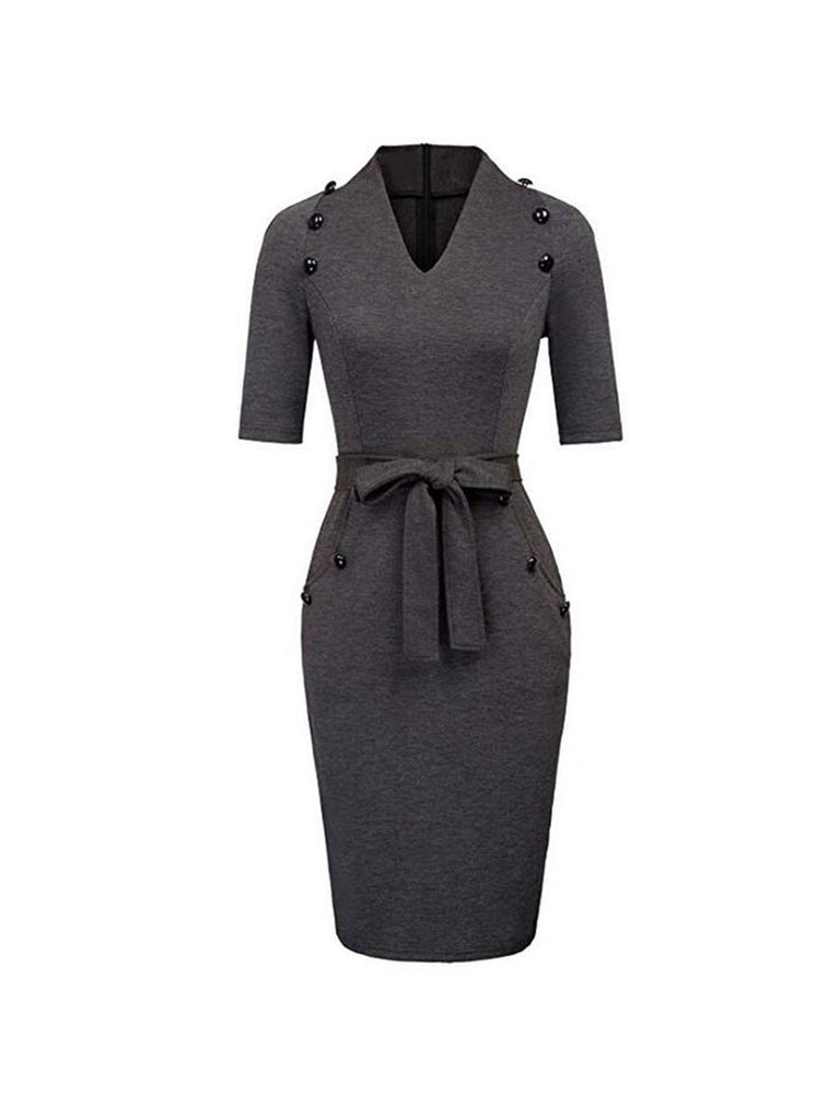Vintage Dress V-neck Button Decoration Pencil Dress With Bow