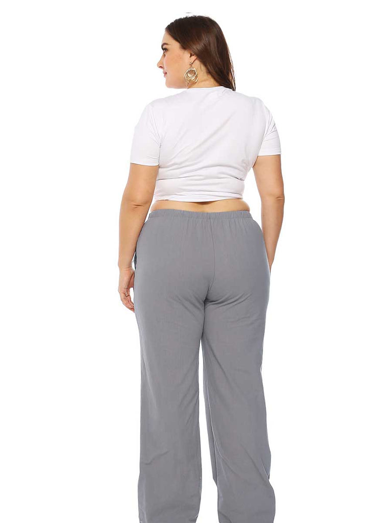 Casual Pants Large Size Loose Band Pocket Waist Flare Pants