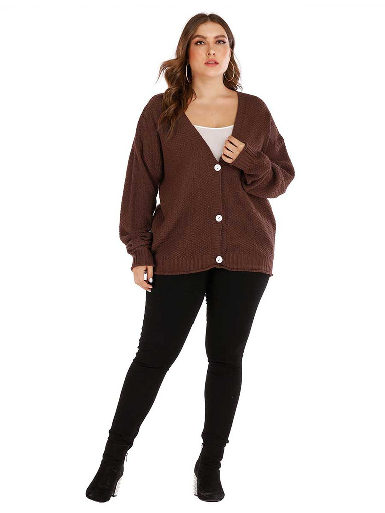 Women Cardigan Loose Single-Breasted Deep V Sweater Jacket
