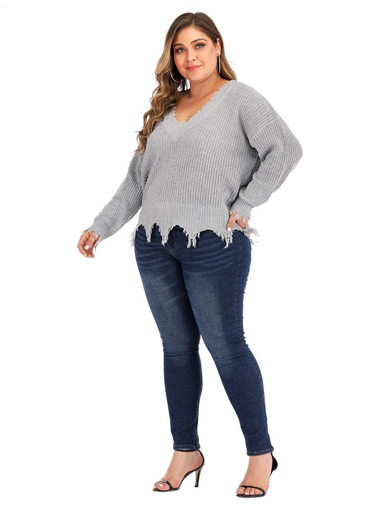 Thickened Knitwear Long-sleeved V-neck Sweater