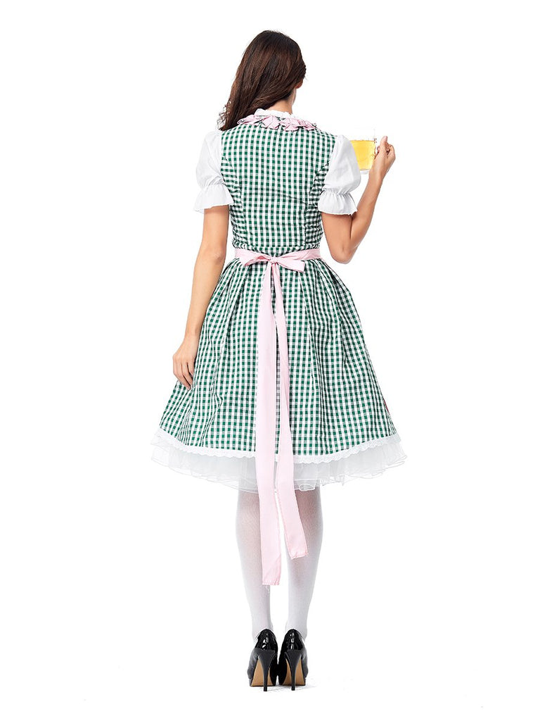 Womens Pink Cute Dress Oktoberfest Fraulein Costume