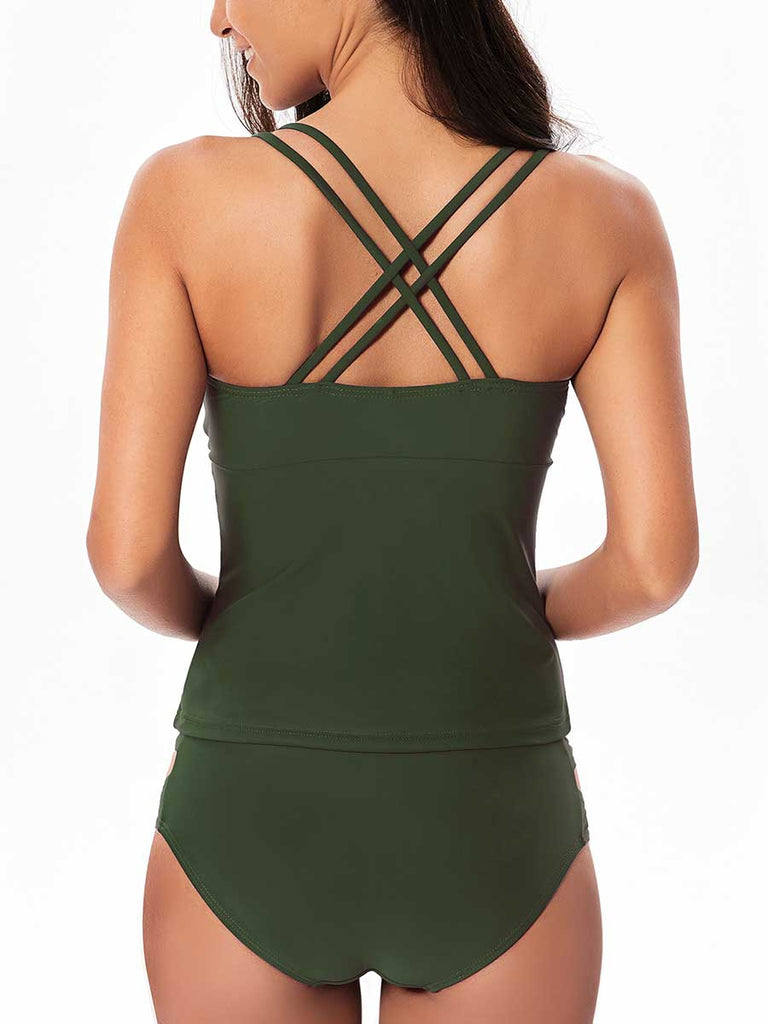 Ladies Split Swimsuit Sexy Solid Color Two Piece Swimwear