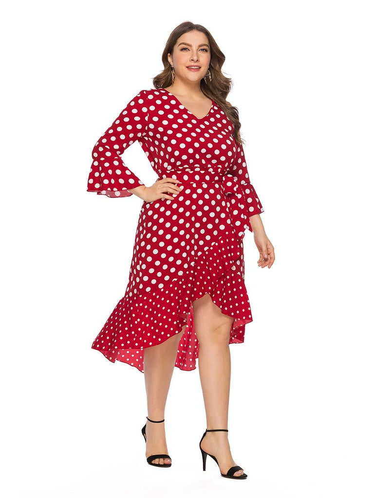 Plus Size Dress Flare Sleeve V Neck Sweet Ladylike Asymmetric Dress