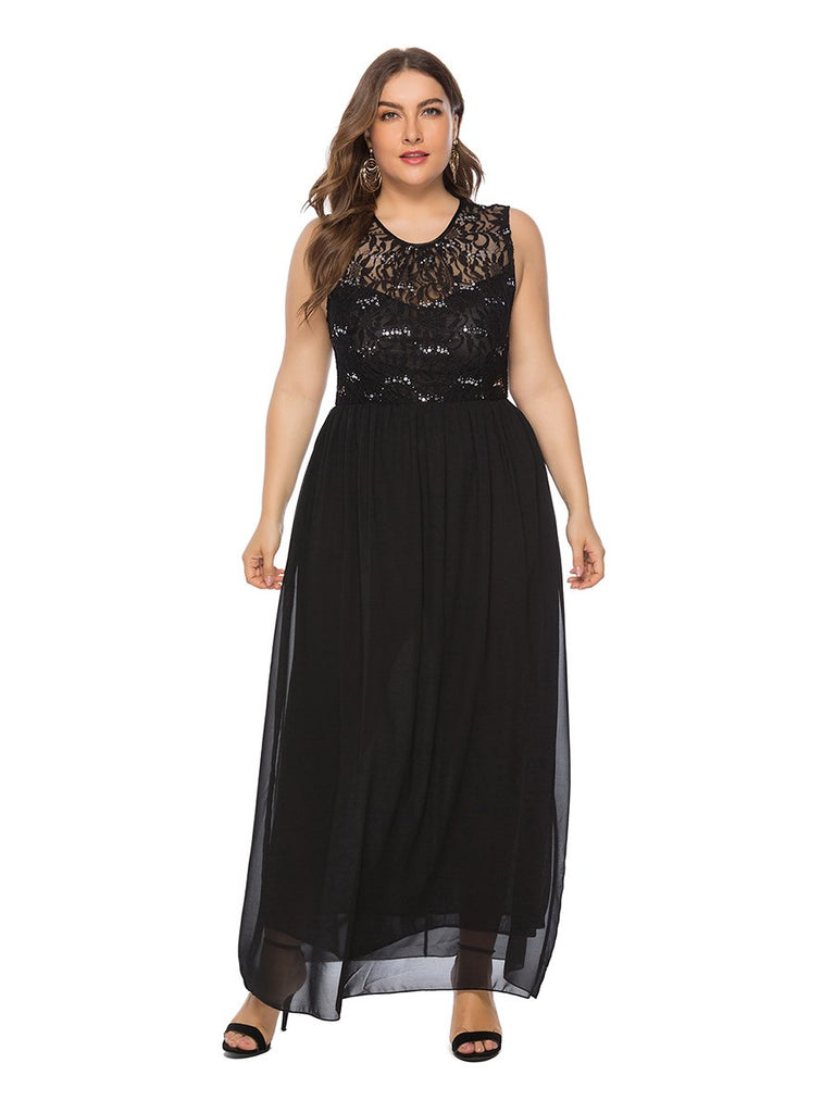 Plus Size Dress Lace Patchwork Sleeveless Fashion Dress