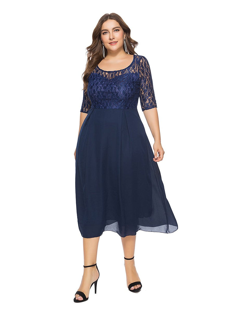 Plus Size Dress Half Sleeve O Neck Elegant Lace Dress