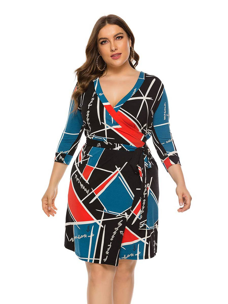 Plus Size V-neck Wrap Knee-length Dress