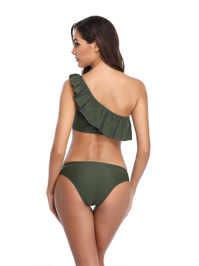 Bikini Suit One Shoulder Ruffled Two-piece Set