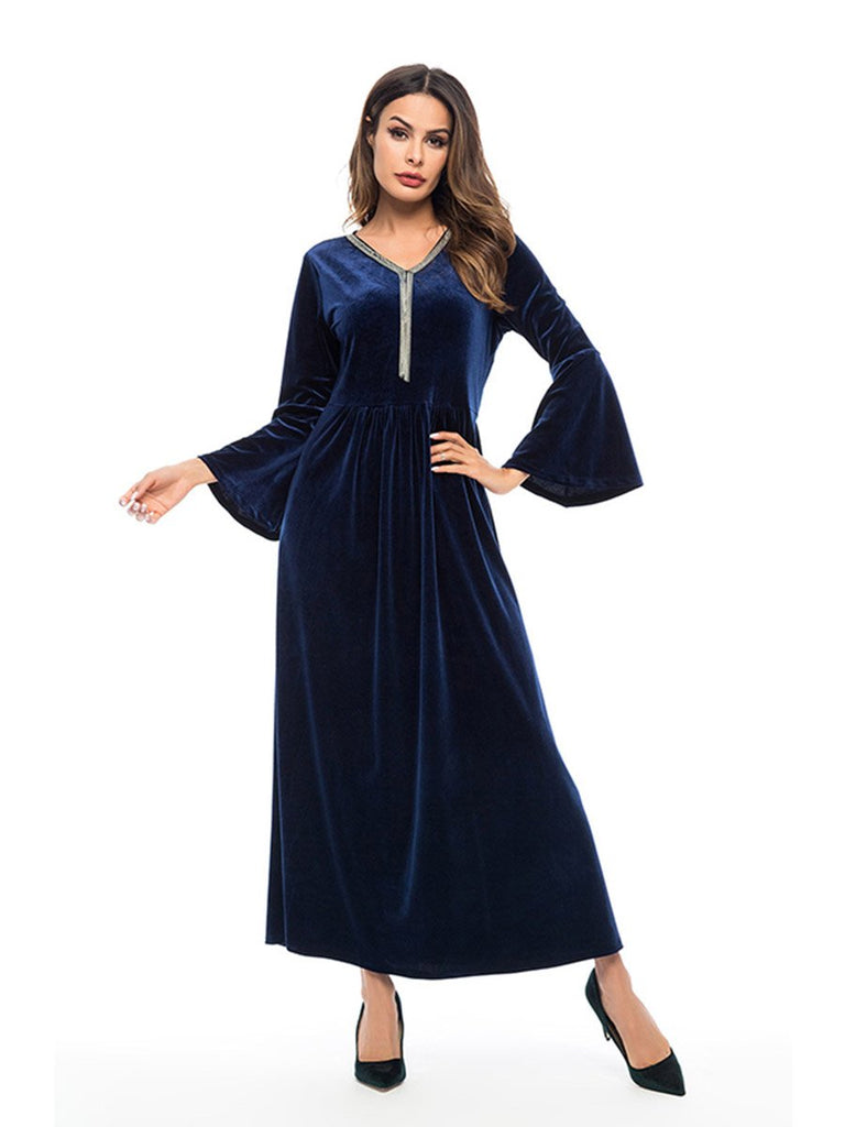 Evening Dress Solid Color V-neck Trumpet Stitching Long-sleeved Dress